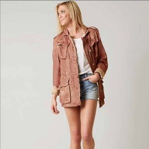 FREE PEOPLE DOUBLE CLOTH MILITARY JACKET - ROSE